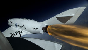 "SpaceShipTwo ""lights the candle"" over Mojave (Credits: Virgin Galactic)."