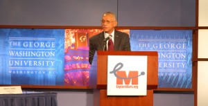 Charles Bolden, NASA Administrator, talking at the Human 2 Mars Summit (Credits: ExplorationMars).