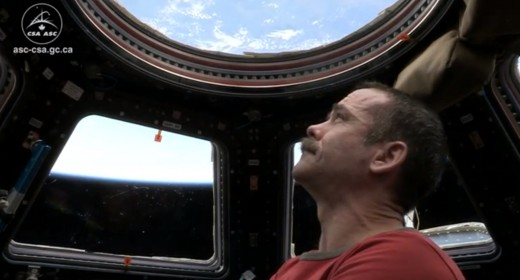 ISS Expedition 35 commander Chris Hadfield just before leaving the station on May 13 (Credits: Canadian Space Agency).