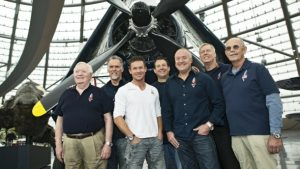 "The Red Bull Stratos ""A-Team,"" from left: Joe Kittinger, Art Thompson, Felix Baumgartner, Luke Aikins, Andy Walshe, Jonathan Clark, and Mike Todd (Credits: Red Bull Stratos)."