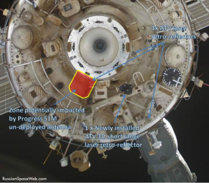 In-orbit view of the aft docking port on the Zvezda service module marking the area potentially impacted by Progress M-19M in April 2013 (Credits: Roscosmos/Anatoly Zak/Russianspaceweb.com).