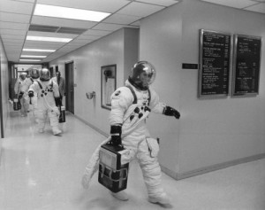 """Get me up there"" was a comment typical of Pete Conrad, seen here leading his crew from the Operations and Checkout Building on the morning of 25 May 1973 (Credits: NASA)."