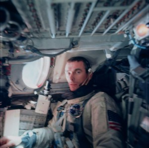 An exhausted Gene Cernan can barely manage a grimace for Tom Stafford's camera after completing his spacewalk on Gemini IX-A. Had the hands of fate played out a little differently, this seat might instead have been occupied by Charlie Bassett (Credit: NASA).