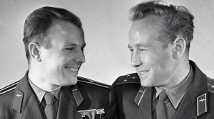 First man in space, Yuri Gagarin (left) with fellow cosmonaut Aleksey Leonov, the first man to undertake a spacewalk (Credits: RIA Novosti).