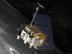 Artist's conception of NASA's Lunar Reconnaissance Orbiter above the Moon. The Cosmic Ray Telescope for the Effects of Radiation (CRaTER) instrument is visible in the center of the image at the bottom left corner of the spacecraft. (Credits: NASA).