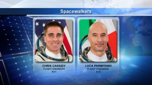 Astronaut Chris Cassidy acquired a total of 29 hours, 42 minutes of spacewalking time. Luca Parmitano is the first Italian performing an EVA (Credits: NASA)