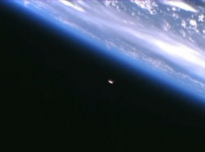 This image of the - for docking - approaching ATV-4 taken from the ISS, may show comparable detail level as the ground-based images