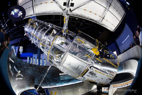 Besides some 60 interactive displays, the new Atlantis Exhibit boasts life-sized models of the Hubble Space Telescope and numerous other artifacts of the space shuttle era (Credits: John Studwell / AmericaSpace).