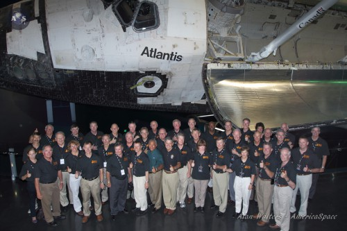 The Kennedy Space Center Visitor Complex opened its $100 million Atlantis Exhibit to the public Saturday, June 29. It was attended by astronauts who flew on each of the orbiter's 33 missions, NASA and other officials, and thousands of guests (Credits: Alan Walters / awaltersphoto.com).