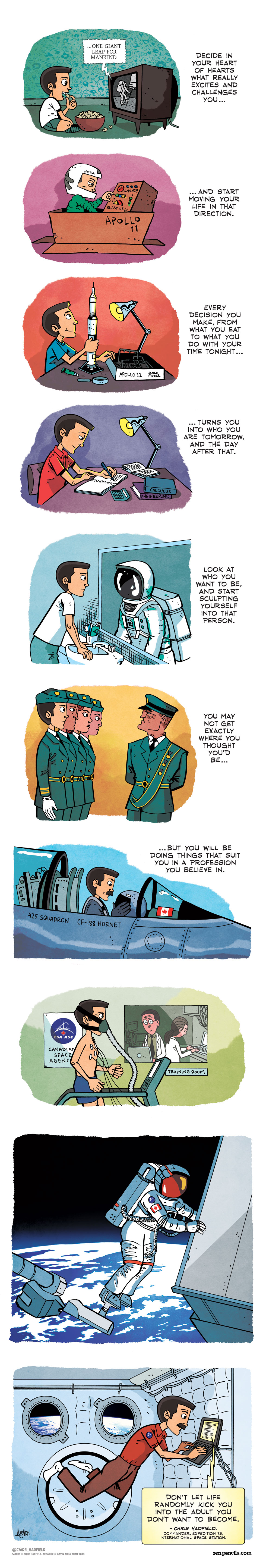 This strip features advice Commander Chris Hadfield delivered during a Reddit AMA (Credits: Gavin Aung Than/zenpencils.com).