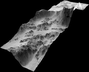 Digital Terrain Model of Mojave Crater, created from HiRISE data similar to what will be used in game (Credits: NASA/JPL/University of Arizona/USGS).