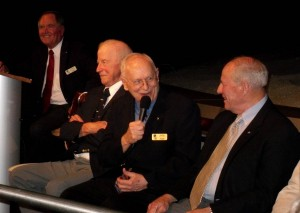 From left to right: Bob Crippen, Paul Weitz, Alan Bean and Jack Lousma share a laugh (Credits: Emily Carney / AmericaSpace).