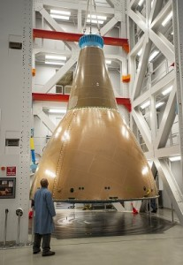 NASA and Lockheed Martin engineers  conduct static loads testing of the Orion Launch Abort System  Fairing Assembly (Credit: Lockheed Martin).