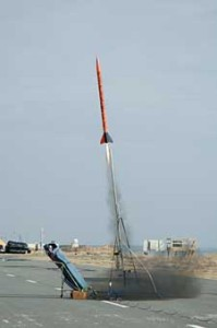 This Seri 3 sounding rocket launched by students from NASA's Wallops Island uses uses a solid thermoplastic fuel grain and liquid Nitrous Oxide as oxidizer (credits: NASA).