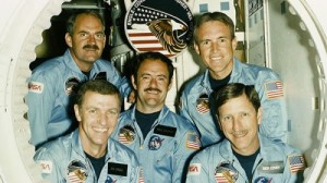 "For Joe Engle (front left), James ""Ox"" van Hoften (back left), and Bill Fisher (back right), 51I would be their final space mission. For the other two crew members, Mike Lounge (center) and Dick Covey (front right), their next voyage together would be aboard Discovery's very next flight … but after the destruction of Challenger, the shuttle as a vehicle would have changed beyond recognition (Credits: NASA)."