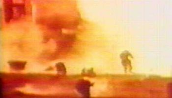 The first launch attempted of the R-16 ended in an unmitigated catastrophe now known as the Nedelin Disaster. This is footage recorded from the launch (Credits: USSR).