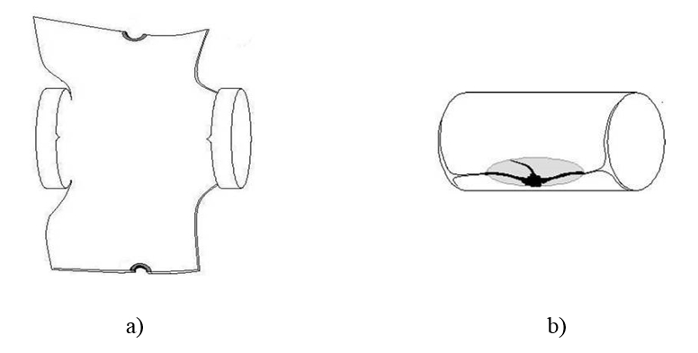 Figure 2. Pressure vessel failure initiated from: a) front side; b) rear side