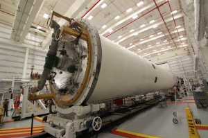 Orbital is currently processing another Antares rocket for the next Commercial Resupply Services mission, Orb-1, slated to take place this December at the Horizontal Integration Facility at Wallops (Credits: Alan Walters / AmericaSpace).