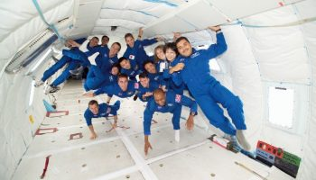 Astronaut training, such as the 2004 NASA parabolic flight exercise shown here, could soon become the subject of reality television (Credits: NASA).