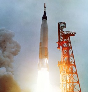 Mercury astronaut Scott Carpenter lifts off from Cape Canaveral on May 24, 1962, in his Aurora 7 capsule. The fourth American in space and second American to orbit Earth, Carpenter spent nearly five hours testing equipment and taking photographs before splashing down (Credits: NASA).