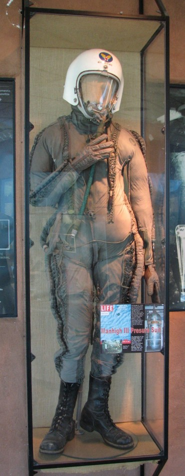 Lt. Clifton McClure wore this partial pressure suit for his 1958 Man High III flight, while he rode in a sealed gondola lifted by a balloon. The suit is displayed at the New Mexico Museum of Space History, in Alamogordo, New Mexico. To show how preservation of such artifacts was not foremost, the museum was told that McClure's son used to wear this suit for Halloween (Credits: Michael Shinabery/NMMSH).