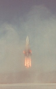 The first landing of the VTVL DC-X Advanced in 1996 (Credits: NASA).