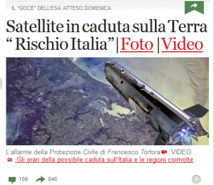 """Headlines of """"Corriere della Sera,"""" the main Italian newspaper. Translation is """"Satellite falling on Earth. Italy at risk"""" (Credits: Space Safety Magazine)."""