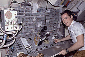 Ed Gibson, pictured at the controls of Skylab's Apollo Telescope Mount (ATM) (Credits: NASA).