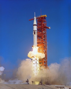 "Boosted aloft atop a Saturn IB rocket, and utilizing a special ""milk stool"" to raise its umbilical connections to the proper levels on the Pad 39B gantry, the third and final Skylab crew takes flight on 16 November 1973 (Credits: NASA)."