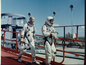 A disappointed but relieved Tom Stafford (left) and Wally Schirra depart Pad 19 after the 12 December pad abort. Their quick thinking and actions that day helped to ensure that they could be quickly recycled to launch a few days later … and saved the rendezvous mission (Credits: NASA).