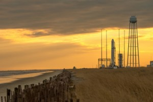 Orbital Sciences' Antares rocket waits for the solar storm to pass at its launch pad on Wallops Island (Credits: NASA/Bill Ingalls).