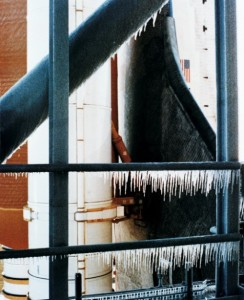Freezing conditions, as evidenced by large concentrations of ice on Pad 39B, were co-conspirators in Challenger's destruction on 28 January 1986 (Credits: NASA).
