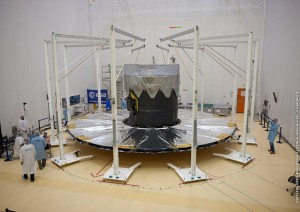 Gaia solar shield undergoing a deployment test at the S5 facility in Kourou (Credits: ESA/CNES/Arianespace).