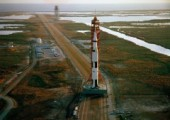 Mounted atop the most powerful rocket ever brought to operational status—the Saturn V—the Apollo 9 spacecraft rolls out to Pad 39A (Credits: NASA).