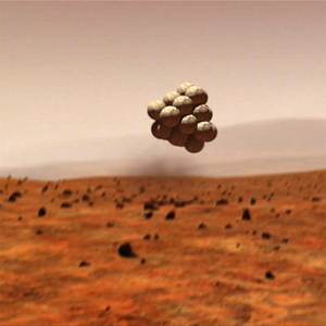 A part of NASA's budget will go to develop airbags such as the ones which allowed the Mars Exploration Rovers Spirit and Opportunity to land on the Red Planet (Credit: NASA / JPL).