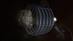 Rendition of a possible architecture for capturing an asteroid as proposed under NASA's Asteroid Retrieval Mission (Credits: NASA).