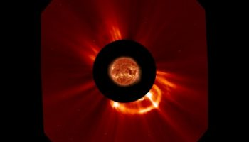 A coronal mass ejection captured by the SOHO satellite (credits: NASA).