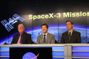 From left-to-right, NASA's Mike Curie. Hans Koenigsmann with SpaceX and Mike McAleenan the Launch Weather Officer for the 45th Space Wing (Credits: Jason Rhian / SpaceFlight Insider).