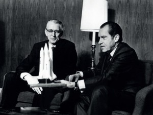 On January 5, 1972, President Nixon announced the Shuttle Program. He is pictured  here with NASA administrator James Fletcher later that day (Credits: NASA).