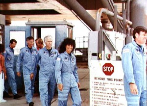 Clad in their blue flight suits, the STS-41D crew included America's second female astronaut, Judy Resnik (Credits: NASA).