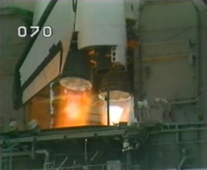 Challenger's three main engines splutter and die in the shuttle program's second RSLS pad abort on 12 July 1985. Her actual launch, 17 days later, although it successfully delivered the STS-51F crew into orbit, would be equally harrowing (Credits: NASA).