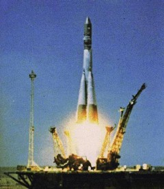Atop a descendent of Sergei Korolev's R-7 booster, Gagarin begins his momentous journey into orbit (Credits: Roscosmos).