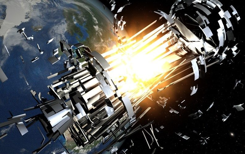 Artist's rendition of an exploding satellite (Credits: ESA).