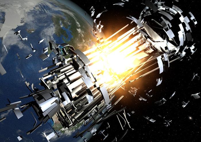Rocket body explosion.
