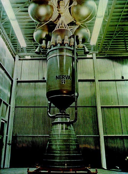 Full scale mockup of the final design NERVA-1 engine circa 1970 that was designed to deliver 75,000 pounds of thrust at 1,500 MW, 10 hours of running lifetime at full power and 60 recycles (full starts and stops) and a specific impulse of 826 seconds.