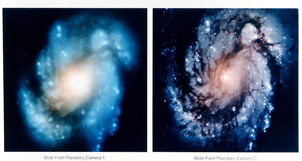 A comparison of images of the core of the galaxy M100, showing the dramatic improvement in Hubble Space Telescope's view after the first Hubble Servicing Mission in December 1993. - Credits: NASA.