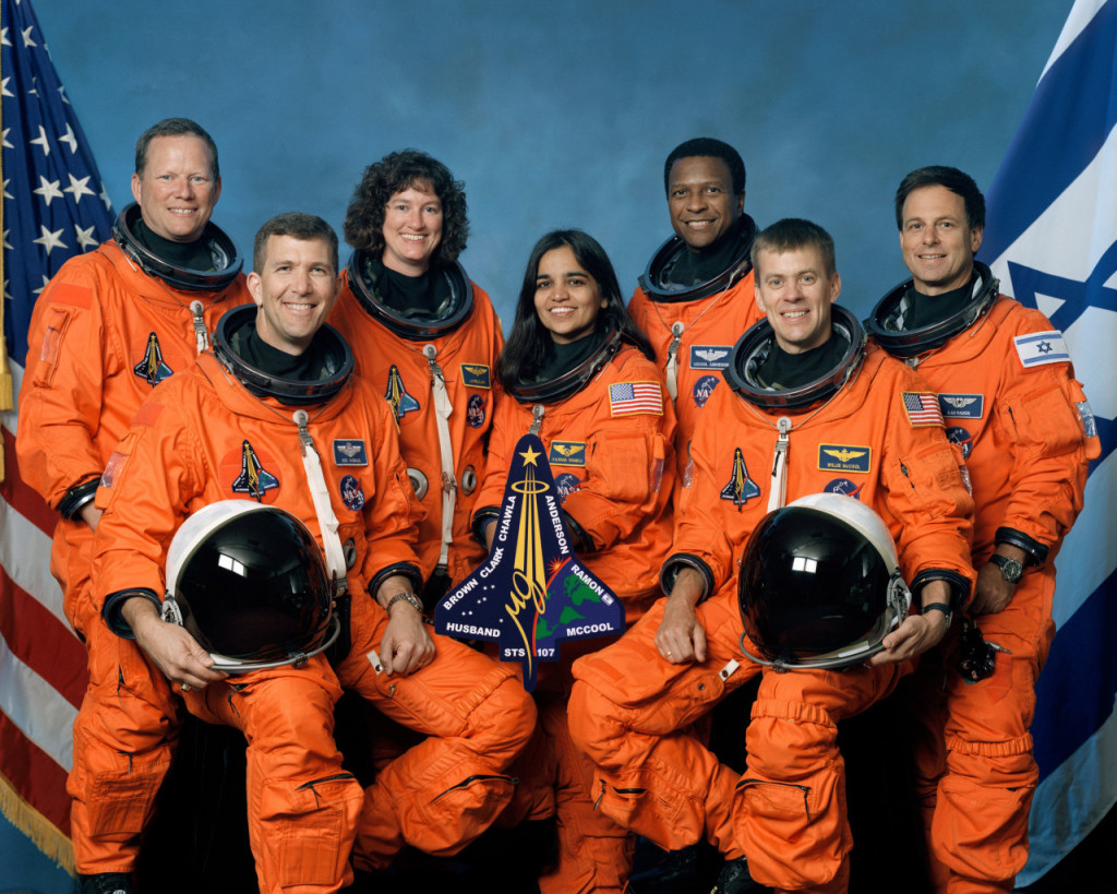 STS-107 Crew - Rear (L-R): David Brown, Laurel Clark, Michael Anderson, Ilan Ramon; Front (L-R): Rick Husband, Kalpana Chawla, William McCool. Credits: WIkimedia