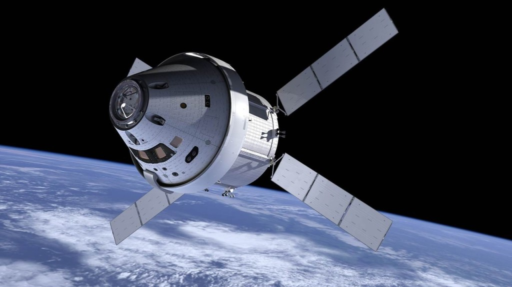 Early artist's Conception of the Multi Purpose Crew Vehicle Program (MPCV) Orion. Note the ATV-derived service module. - Credits: NASA.