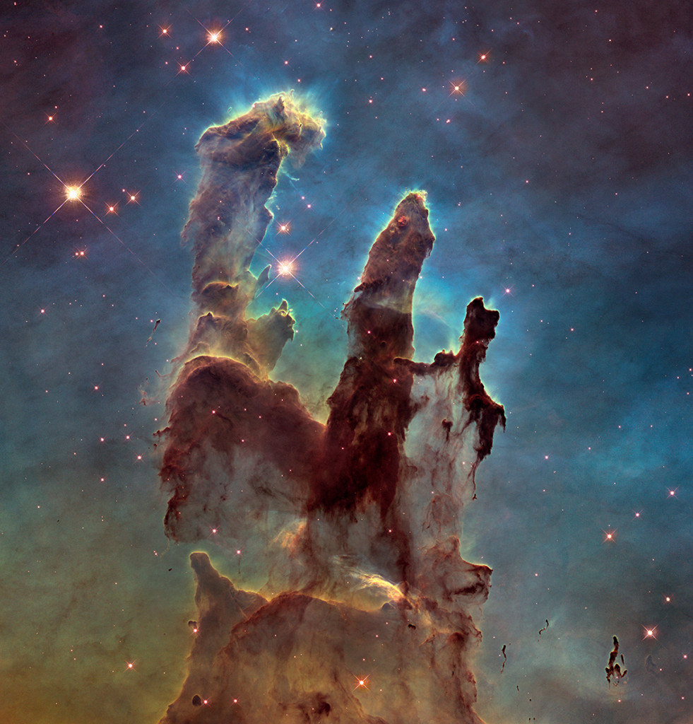 A high-resolution version of Pillars of Creation, taken in 2014 as a tribute to the original photograph. - Credits: NASA.