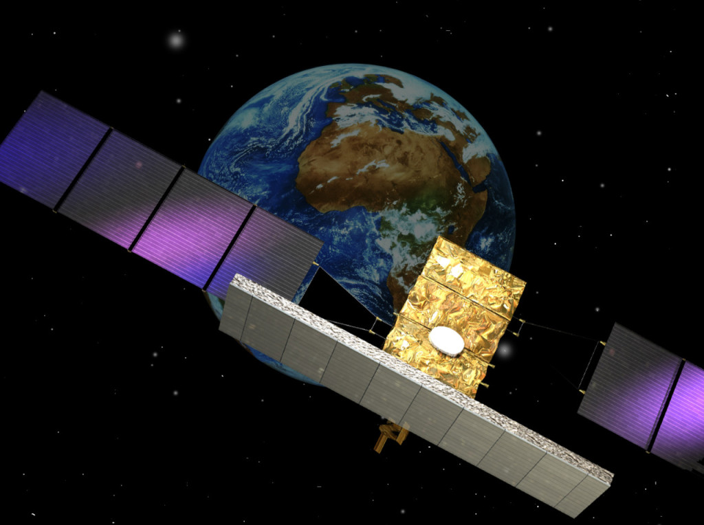 Cosmo-SkyMed dual use system. The Italian Cosmo-SkyMed mission is a four-satellite constellation, each equipped with an X-band SAR sensor. – Credits: ESA.